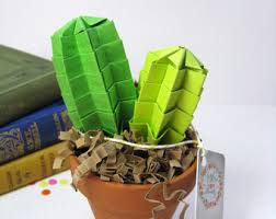 origami paper cactus in lime green with pink blossom home