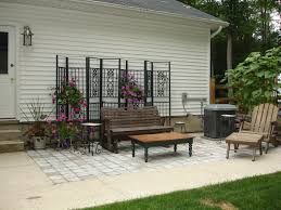 sitting area made from recycled gazebo frame and patio blocks off