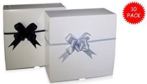 silver boxes with bows on top 10 gift boxes 8 x 8 x 3 5 with 10 pull bows black
