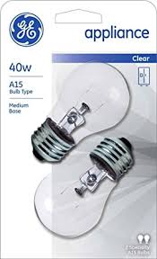 ge refrigerator light bulb replacement ge appliance light bulb 40w a15 pack of 6 amazon com