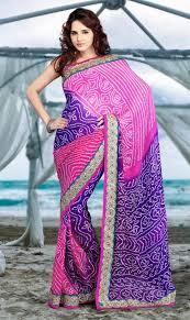 viscous bandhni sari in purple and pink combination with kundan