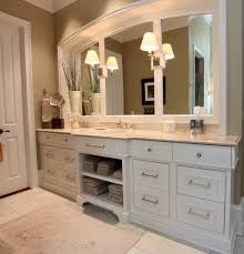this beautiful bath vanity features inset beaded face frame