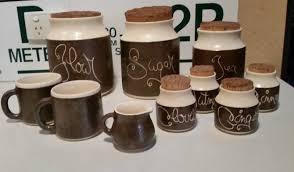 vintage retro hanstan australian pottery kitchen canisters coffee vintage retro hanstan australian pottery kitchen canisters coffee mugs creamer