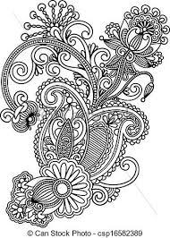 Flower Designs For Drawing Vector Clip Art Of Hand Draw Line Art Ornate Flower Design