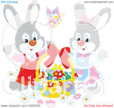 clipart of a gray easter bunny rabbit pair with a basket of eggs