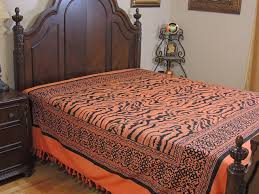 fulvous orange tribal pattern bedspread woven cotton tapestry
