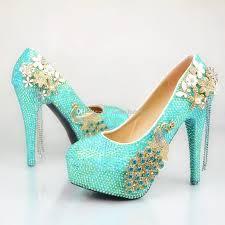 Wedding Shoes Cork Wholesale Turquoise Flower Tassel Cinderella Shoes Prom Evening