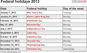 date for thanksgiving 2013 federal holidays 2013