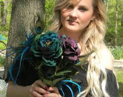 Purple Wedding Flowers Peacock Bouquet