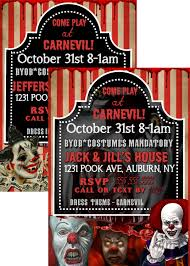 Evil Clown Invite Scary Clown Invitations Clown Halloween