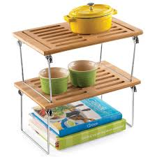 Stackable Kitchen Cabinet Organizer Bamboo Shelf Small Bamboo Stackable Shelf The Container Store