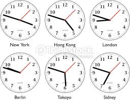 six different clock showing time around the world stock photo