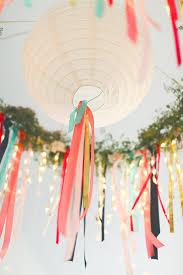 Streamer Chandelier Round Paper Lanterns For An Outdoor Wedding On A Warm Summer Night