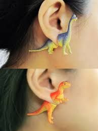 plastic back earrings halved plastic dinosaur toys reunite as the front and back of