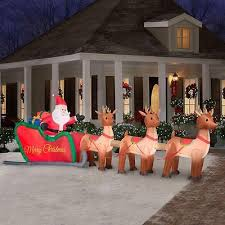 Outdoor Christmas Decorations Sleigh by Christmas Inflatable 16 Colossal Santa Sleigh With Reindeer Yard