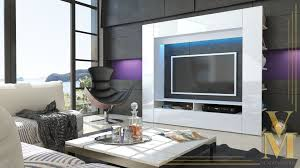 Unit Tv White Gloss Wall Units Living Room Trends Including Details About