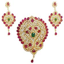 big necklace pendants images Big sized ruby emerald pearl pendant earrings gleam jewels jpg