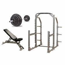 Weight Bench Package Solid Premium Power Rack Gym Package