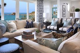 blue and white coastal living room with ocean view 50395 house featured image of blue and white coastal living room with ocean view