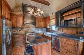 Natural Wood Kitchen Cabinets Dazzling Steel Six Armed Chandelier Smooth Gray Granite Countertop