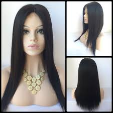 straight long middle parting lace front human hair wig in black