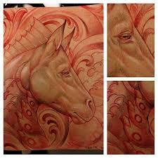 art nouveau horse sketch by tattoo artist terry ribera