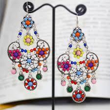 Designer Chandelier Earrings Silver Plating Colorful Resin Gems Accent Chandelier Earrings