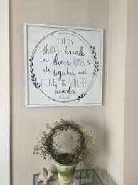 24x24 they broke bread acts 2 46 bible verse kitchen decor