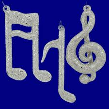 Musical Note Ornaments Silver Glittered Note Ornaments