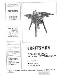 sears 10 table saw parts 113 241691 craftsman 10 inch flex drive saw table