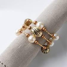 gold wire rings images Gold wire beaded napkin rings kitchen utensils kitchen and jpg