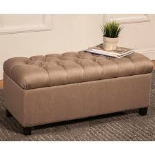 ivory tufted storage ottoman bench with nailhead
