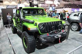 wrangler jeep green mopar shows off a ton of new 2018 wrangler jl accessories off