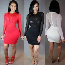 2017 black red white short women dresses long sleeve mini cocktail