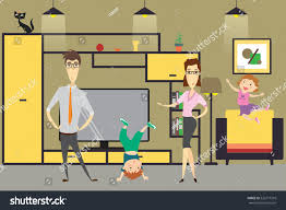 cute cartoon family mom daddaughter son stock vector 526777318