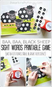 baa baa black sheep printable sight words game sight word games