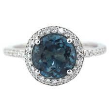 blue topaz engagement rings london blue topaz engagement ring diamond side stones 14k gold