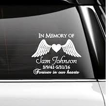 in memory of in memory of car decal memorial angel wings handmade