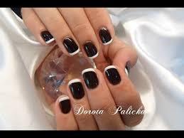 black and white nail art basic french gel polish on natural nails