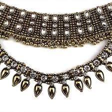 chain link collar necklace images Vintage inspired chain link choker collar double layered indian jpg