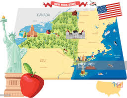 Map New York Connecticut by Cartoon Map Of New York Vector Art Getty Images