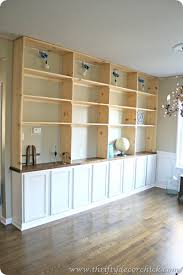 Family Room Cool Bookcases Ideas Diy Built Ins Bookcase Using Pre Built Cabinets And Stationary