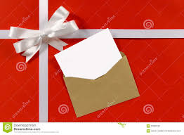 christmas or birthday card with gift ribbon bow in white sat stock