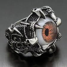 steel male rings images Men dragon eye claw 316l stainless steel skull biker ring biker jpg