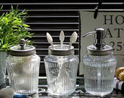 Glass Bathroom Accessories Sets Kilner Vintage Glass Preserve Jar Bathroom Set With Bronze