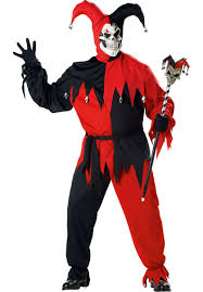 harlequin halloween costumes evil jester costume red black plus size escapade uk