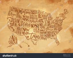 Usa Map With States by Vintage Usa Map States Inscription California Stock Vector