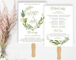 ceremony fans wedding program fan etsy