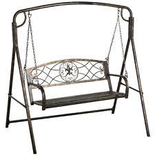 metal porch swing outdoor patio hanging furniture 2 person iron