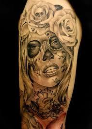 sugar skull black grey roses sleeve tattoos black and